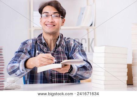 Writer presenting his books to public
