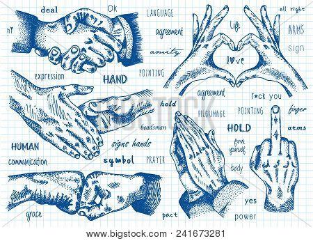 Signs Hands, Business Shaking, Folded Heart, Folded In Prayer, Folded Heart. Fist Agreement. Fuck Yo