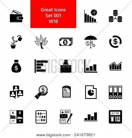 Icon Set Of Enterprise Signs. Payment, Investment, Profit. Money Concept. For Topics Like Business,