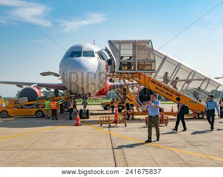 Thanh Hoa, Vietnam - May 16, 2018: Established In 2011, Budget Airline Vietjet Air Has Already Grown