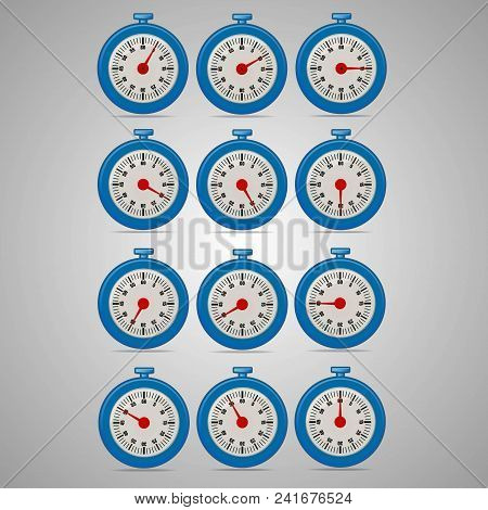 Blue realistic timers, increments from 5 to 60, 5 minutes interval, 4 rows and 3 columns on gray background, for business or education. Seconds timer. Timing device. Stopwatch icon set 2. EPS 10. poster