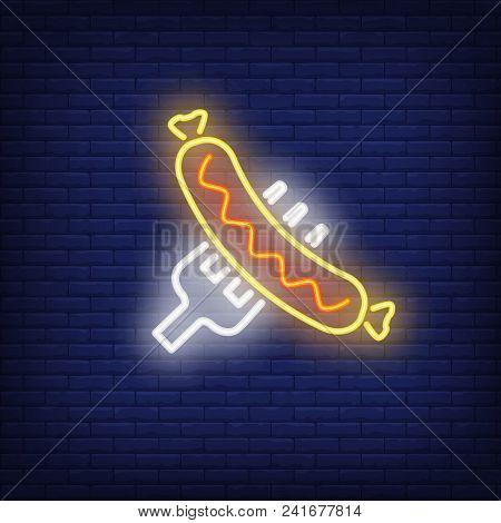 Sausage On Fork On Brick Background. Neon Style Illustration. Bratwurst, Grilled Food, Barbeque. Foo