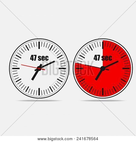 Fourty Seven Seconds Clock On Gray Background. Two Options.
