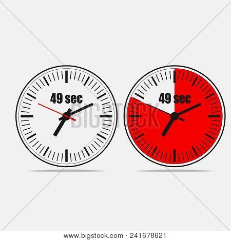 Fourty Nine Seconds Clock On Gray Background. Two Options.