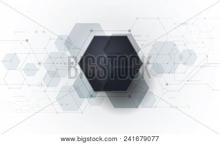 Vector Abstract Futuristic Circuit Board On Light Gray Background, Hi-tech Digital Technology Concep