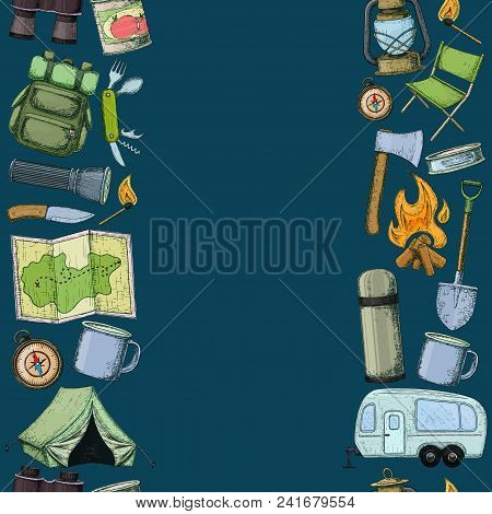 Seamless Borders Of Travel Equipment. Accessories For Camping And Camps. Colorful Sketch Cartoon Ill