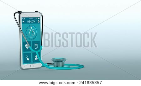 Stethoscope And A Smartphone With A Medical App, Copyspace (3d Render)