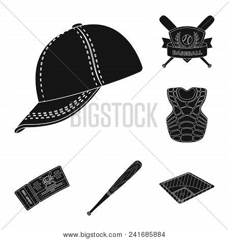 Baseball And Attributes Black Icons In Set Collection For Design.baseball Player And Equipment Vecto