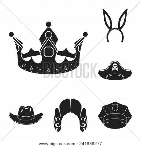 Different Kinds Of Hats Black Icons In Set Collection For Design.headdress Vector Symbol Stock  Illu