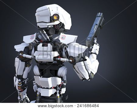 3d Rendering Of A Futuristic Robot Police Or Soldier Holding A Gun With His Back Against The Camera.