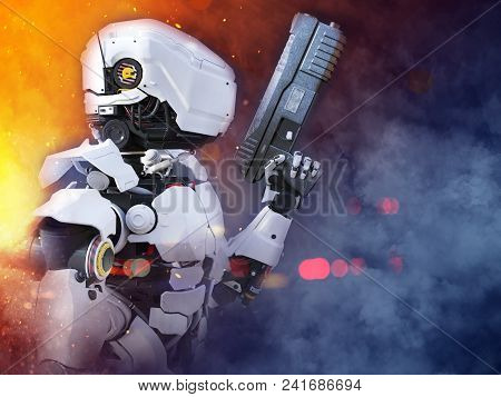 3d Rendering Of A Futuristic Robot Police Or Soldier Holding A Gun With Fire And Smoke Around Him.