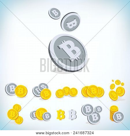 Bitcoin, 2d Cartoon Bit Coin, Digital Currency, Cryptocurrency. Golden Coins With Symbol Isolated On