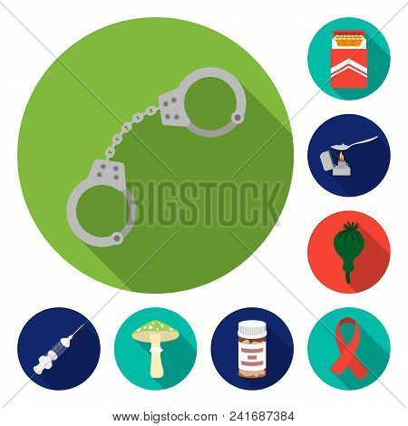 Drug Addiction And Attributes Flat Icons In Set Collection For Design. Addict And Drug Vector Symbol