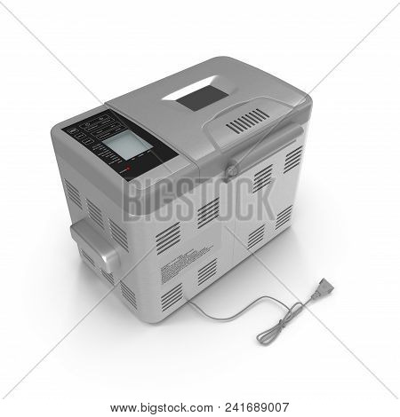 Breadmaker Machine And Accessories Isolated On A White Background. 3d Illustration