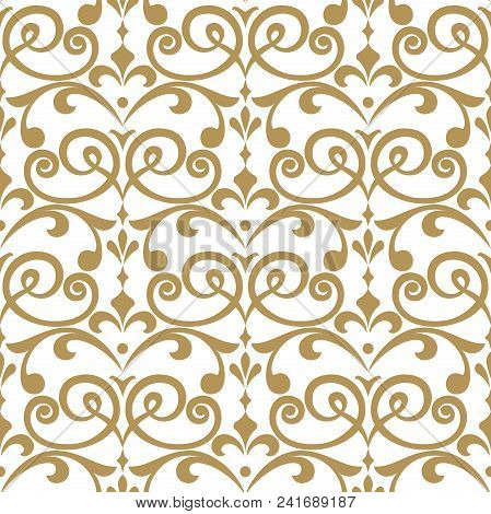 Wallpaper In The Style Of Baroque. A Seamless Vector Background. White And Gold Floral Ornament. Gra