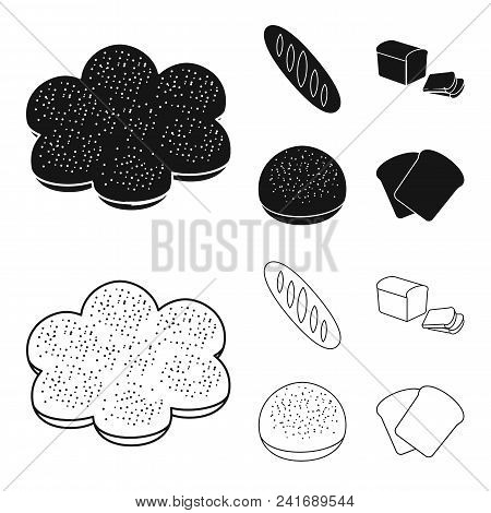 Cut Loaf, Bread Roll With Powder, Half Of Bread, Baking.bread Set Collection Icons In Black, Outline