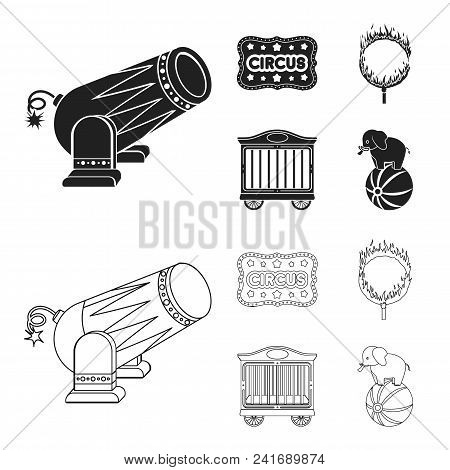 Circus Trailer, Circus Gun, Burning Hoop, Signboard.circus Set Collection Icons In Black, Outline St