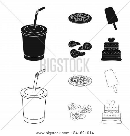 Cola, Pizza, Ice Cream, Chips.fast Food Set Collection Icons In Black, Outline Style Vector Symbol S