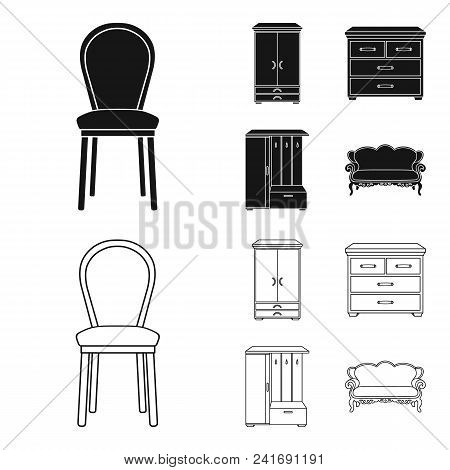 Armchair, Cabinet, Bedside, Table .furniture And Home Interiorset Collection Icons In Black, Outline