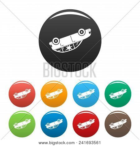 Turned Car Icon. Simple Illustration Of Turned Car Vector Icons Set Color Isolated On White