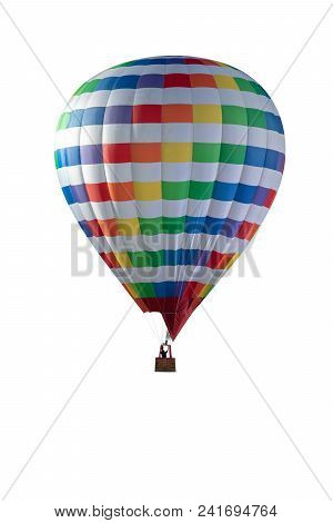 Colourfull Hot Air Balloon Isolated On White Background. Colourfull Balloon Festival. + Clipping Pat