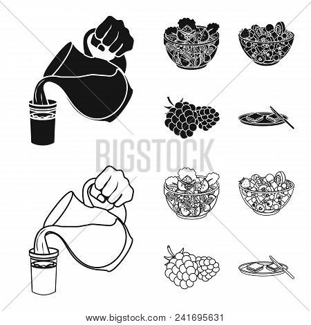 Fruit, Vegetable Salad And Other Types Of Food. Food Set Collection Icons In Black, Outline Style Ve
