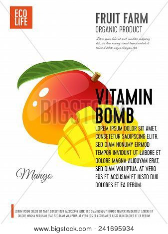 Packaging Label. Concept Design With Inscription. Mango, Whole Fruit With Leaf And Cubic Slices. Vec