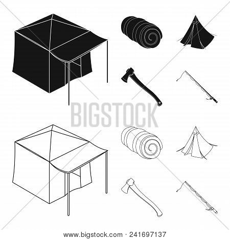 Tent With Awning, Ax And Other Accessories.tent Set Collection Icons In Black, Outline Style Vector