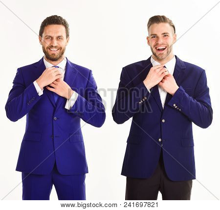 Business Partners Correct Ties By Hands. Businessmen Preparing Outfit And Moving Ties. Stylish Busin
