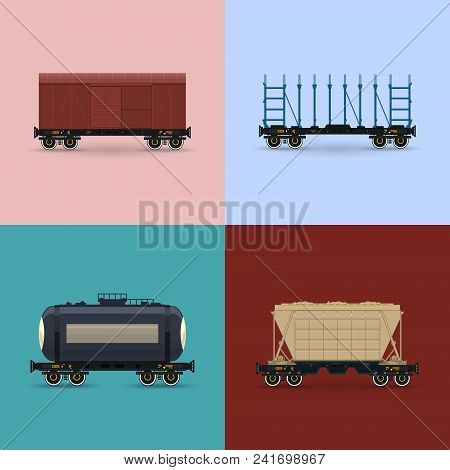 Covered Wagon, Platform For Transportation Of Bulk Or Long Cargo And For Timber Transportation , Rai