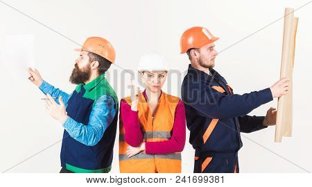 Builder, architect, repairman searching handyman. Hiring workers concept. Inspector, employee, builder seeking for coworkers. Men and woman in helmets busy with different tasks white background. poster