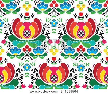 Seamless Norwegian Vector Folk Art Pattern - Rosemaling Style Embroidery Background