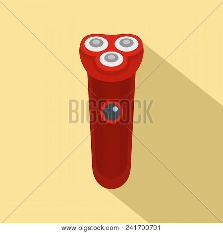 Red Electric Razor Icon. Flat Illustration Of Red Electric Razor Vector Icon For Web Design