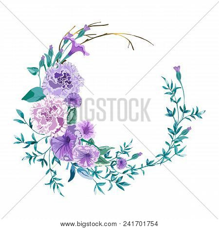 Floral Wreath, Garland With Wild Flowers Terry Petunia, Peony Pink And Twigs With Leaves..vector Flo
