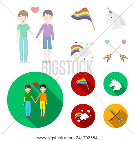 Flag, Unicorn Symbol, Arrows With Heart.gay Set Collection Icons In Cartoon, Flat Style Vector Symbo