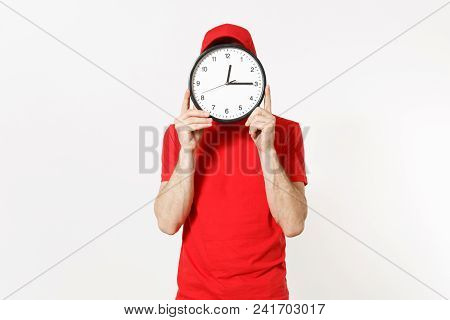 Delivery Man In Red Uniform Isolated On White Background. Professional Male In Cap, T-shirt, Jeans W