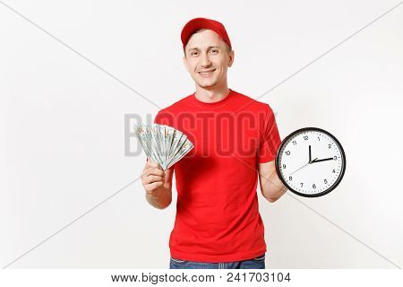 Delivery Man In Red Uniform Isolated On White Background. Smiling Male In Cap, T-shirt, Jeans Workin