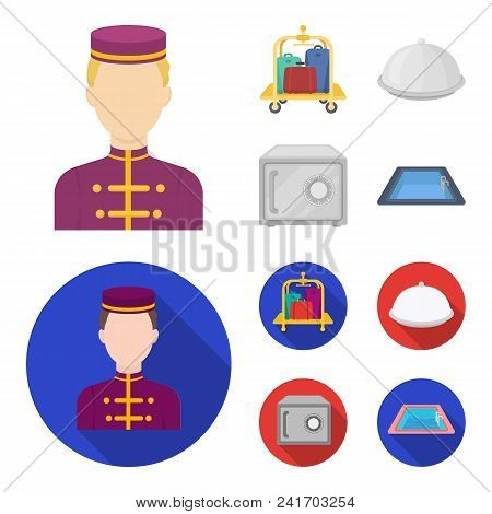 Trolley With Luggage, Safe, Swimming Pool, Clutch.hotel Set Collection Icons In Cartoon, Flat Style