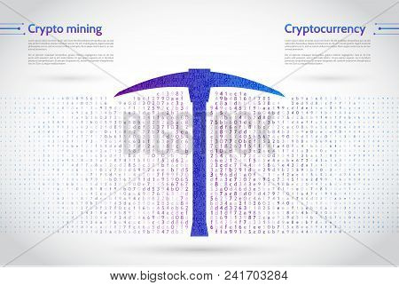 A Stream Of Binary Code On Background. The Concept Of Coding And Mining Of Cryptocurrency. Abstract