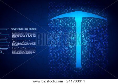 A Stream Of Hexadecimal Code On Background. The Concept Of Coding And Mining Of Cryptocurrency. Abst