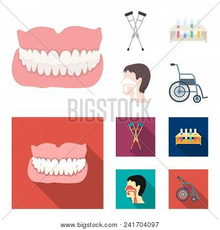 Crutch, Tripod With Test Tubes, Wheelchair, Human Respiratory System. Medicine Set Collection Icons