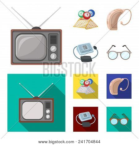 Lottery, Hearing Aid, Tonometer, Glasses.old Age Set Collection Icons In Cartoon, Flat Style Vector