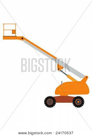 Orange Cherry Picker Platform