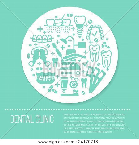 Dentist, Orthodontics Blue Medical Banner With Vector Glyph Icons. Dental Care Equipment, Braces, To