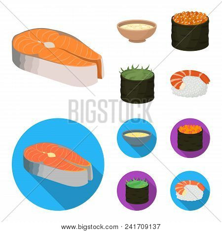 Bowl Of Soup, Caviar, Shrimp With Rice. Sushi Set Collection Icons In Cartoon, Flat Style Vector Sym