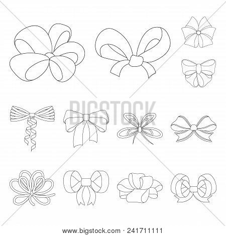 Multicolored Bows Outline Icons In Set Collection For Design.bow For Decoration Vector Symbol Stock