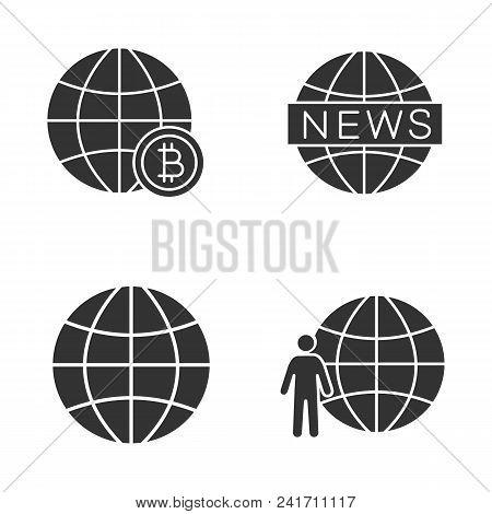 Worldwide Glyph Icons Set. Global Bitcoin, Earth, Newscast, Planet Population. Silhouette Symbols. V
