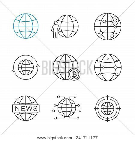 Worldwide Linear Icons Set. Globe, Planet Population, Route, Around The World, Global Bitcoin, Inter