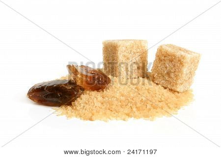 Large Caramelized Sugar, Cane Sugar Cubes And Sugar-sand