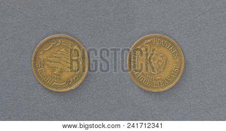 Lebanon fife piastres brass coin. Path for both coins.
